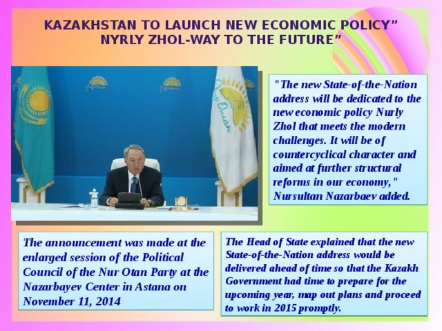 """Kazakhstan to launch new economic policy """" Nyrly Zhol-Way to the Future """""""