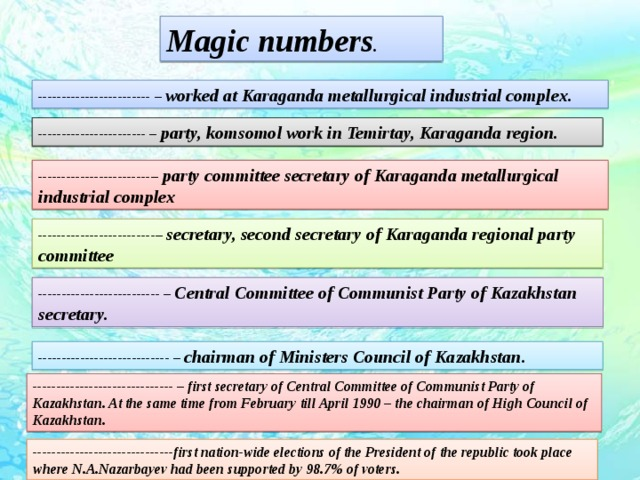 Magic numbers . ------------------------ – worked at Karaganda metallurgical industrial complex . ----------------------- – party, komsomol work in Temirtay, Karaganda region. ------------------------– party committee secretary of Karaganda metallurgical industrial complex -------------------------– secretary, second secretary of Karaganda regional party committee -------------------------- – Central Committee of Communist Party of Kazakhstan secretary. ---------------------------- – chairman of Ministers Council of Kazakhstan . ------------------------------ – first secretary of Central Committee of Communist Party of Kazakhstan. At the same time from February till April 1990 – the chairman of High Council of Kazakhstan.  ------------------------------first nation-wide elections of the President of the republic took place where N.A.Nazarbayev had been supported by 98.7% of voters.