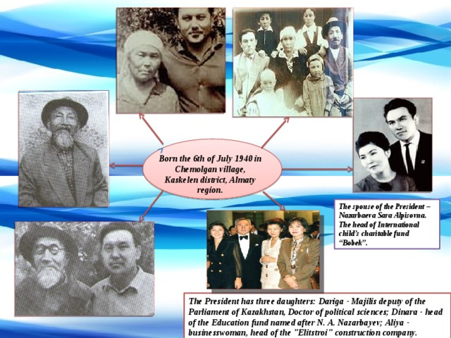 """Born the 6th of July 1940 in Chemolgan village, Kaskelen district, Almaty region. The spouse of the President – Nazarbaeva Sara Alpisovna. The head of International child's charitable fund """"Bobek"""". The President has three daughters: Dariga - Majilis deputy of the Parliament of Kazakhstan, Doctor of political sciences; Dinara - head of the Education fund named after N. A. Nazarbayev; Aliya - businesswoman, head of the"""