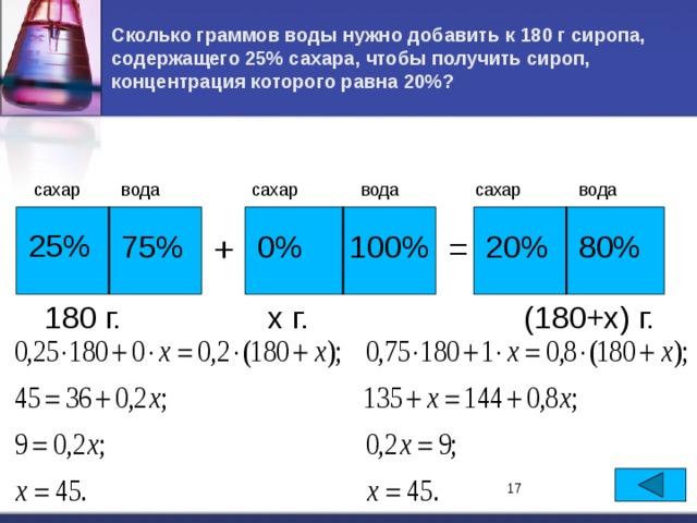 Сколько граммов воды нужно добавить к 180 г сиропа, содержащего 25% сахара, чтобы получить сироп, концентрация которого равна 20%? сахар сахар сахар вода вода вода 25% 20% 0% + 80% 100% 75% = х г. (180+х) г. 180 г. 17