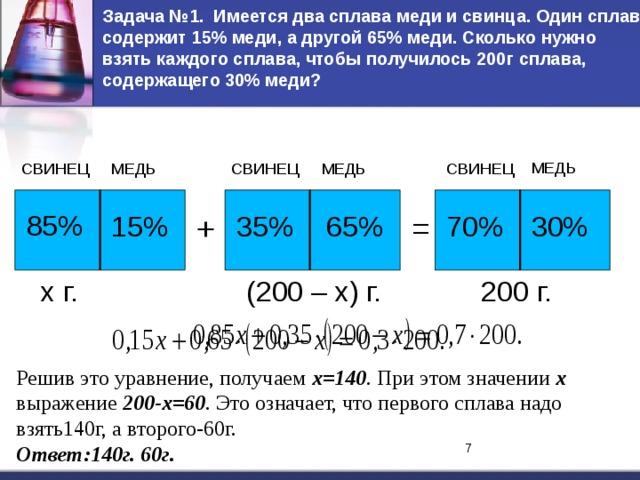 Задача №1. Имеется два сплава меди и свинца. Один сплав содержит 15% меди, а другой 65% меди. Сколько нужно взять каждого сплава, чтобы получилось 200г сплава, содержащего 30% меди? МЕДЬ МЕДЬ СВИНЕЦ СВИНЕЦ СВИНЕЦ МЕДЬ 85% = 65% 30% 70% 35% + 15% х г. (200 – х) г. 200 г. Решив это уравнение, получаем х=140 . При этом значении  х выражение 200-х=60 . Это означает, что первого сплава надо взять140г, а второго-60г. Ответ:140г. 60г. 7