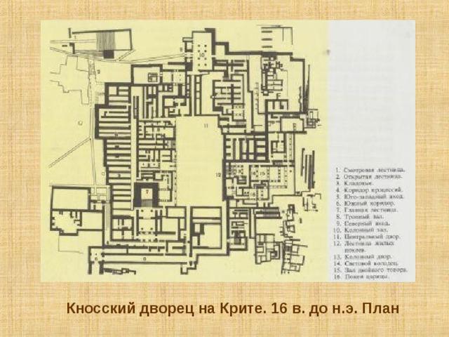 Кносский дворец на Крите. 16 в. до н.э. План