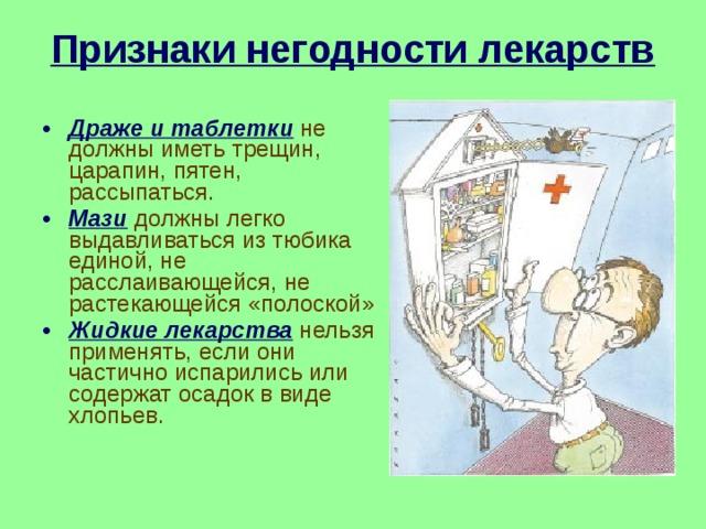 Признаки негодности лекарств