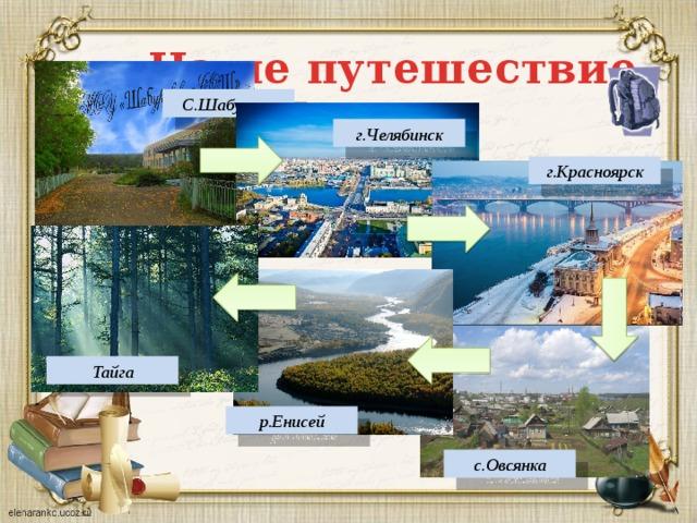 Наше путешествие С.Шабурово г.Челябинск г.Красноярск Тайга р.Енисей с.Овсянка