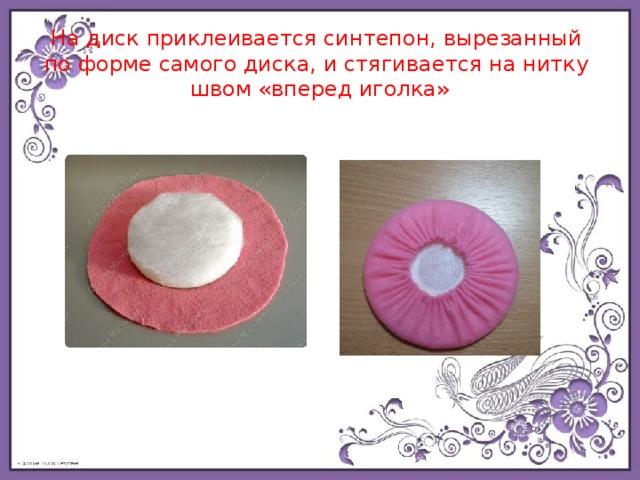 На диск приклеивается синтепон, вырезанный  поформе самого диска, истягивается нанитку  швом «вперед иголка»