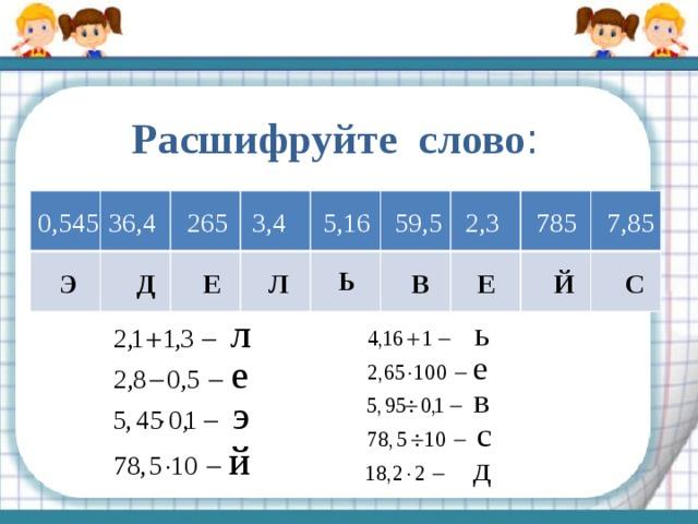 Расшифруйте слово : 5,16 7,85 2,3 59,5 785 3,4 265 36,4 0,545 Ь Л Е Э Й Е В С Д