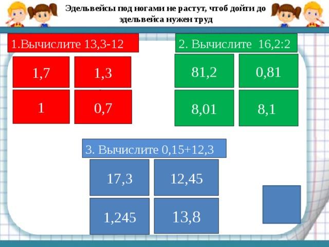 Эдельвейсы под ногами не растут, чтоб дойти до эдельвейса нужен труд Вычислите 13,3-12 2. Вычислите 16,2:2 81,2 0,81 1,7 1,3 1 0,7 8,01 8,1  3. Вычислите 0,15+12,3 17,3 12,45 1,245 13,8