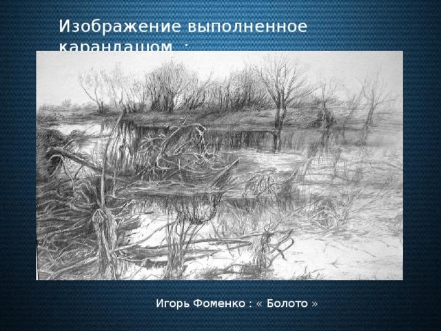 Изображение выполненное карандашом : Игорь Фоменко : « Болото »