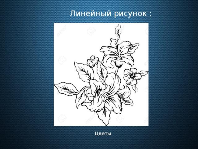 Линейный рисунок : Цветы