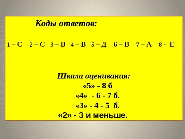 Коды ответов: 1 – С 2 – С 3 – В 4 – В 5 – Д 6 – В 7 – А 8 - Е   Шкала оценивания: «5» - 8 б «4» - 6 - 7 б. «3» - 4 - 5 б. «2» - 3 и меньше.