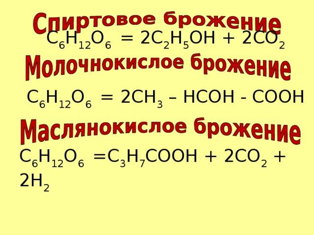 С 6 H 12 O 6 = 2C 2 H 5 OH + 2CO 2 С 6 H 12 O 6 = 2CH 3 – HCOH - COOH С 6 H 12 O 6 =C 3 H 7 COOH + 2CO 2 + 2H 2