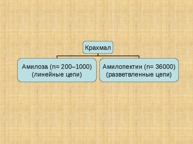 Крахмал Амилоза ( n = 200–1000) (линейные цепи) Амилопектин ( n = 36000) (разветвленные цепи)