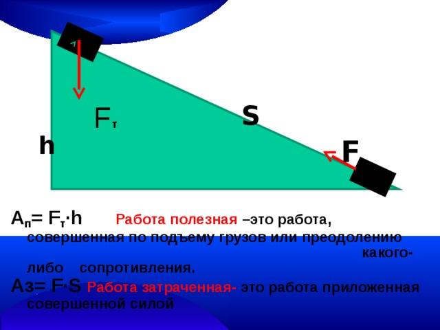 S F т А п = F т ∙h  Работа полезная –это работа, совершенная по подъему грузов или преодолению какого-либо сопротивления. Аз= F∙S  Работа затраченная- это работа приложенная совершенной силой  h F