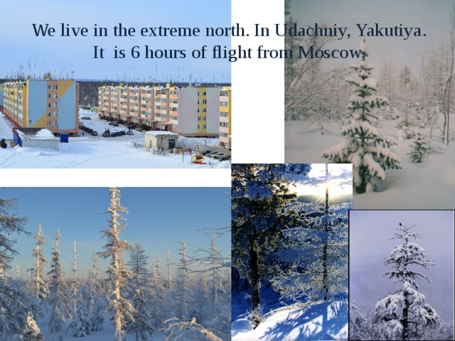 We live in the extreme north. In Udachniy, Yakutiya. It is 6 hours of flight from Moscow.