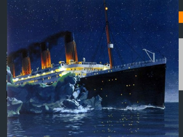 The reason of the crash of the «Titanic» When the «Titanic» was swimming to New-York, it crushed into a big iceberg. The crew thought that they could avoid the collision with the iceberg, but it didn`t happen and unfortunately, the death took the lives of the people.