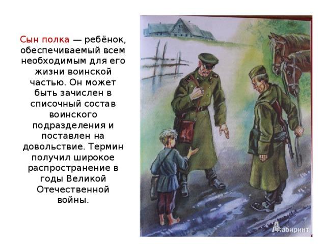 Сын полка — ребёнок, обеспечиваемый всем необходимым для его жизни воинской частью. Он может быть зачислен в списочный состав воинского подразделения и поставлен на довольствие. Термин получил широкое распространение в годы Великой Отечественной войны.
