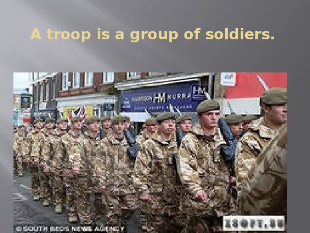 A troop is a group of soldiers.
