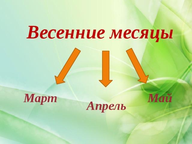 Весенние месяцы  Март Май  Апрель