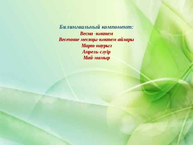 Билингвальный компонент:  Весна -көктем  Весенние месяцы-көктем айлары  Март-наурыз  Апрель-сәуір  Май-мамыр