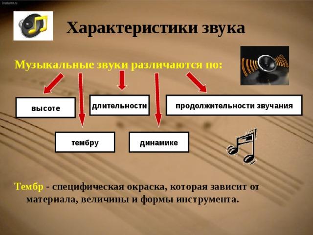 Характеристики звука  Музыкальные звуки различаются по:         Тембр - специфическая окраска, которая зависит от материала, величины и формы инструмента.    продолжительности звучания длительности высоте динамике тембру