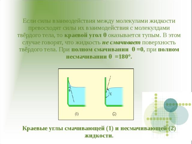 Если силы взаимодействия между молекулами жидкости превосходят силы их взаимодействия с молекулдами твёрдого тела, то краевой угол θ оказывается тупым. В этом случае говорят, что жидкость не смачивает поверхность твёрдого тела. При полном смачивании θ =0, при полном несмачивании θ =180 ° .           Краевые углы смачивающей (1) и несмачивающей (2) жидкости.