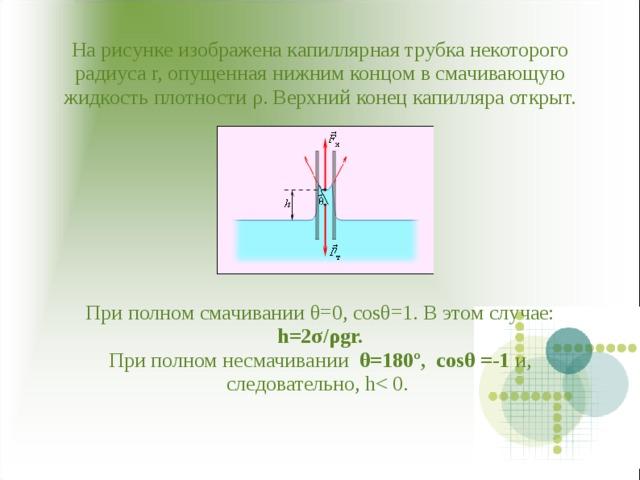 На рисунке изображена капиллярная трубка некоторого радиуса r, опущенная нижним концом в смачивающую жидкость плотности ρ . Верхний конец капилляра открыт.          При полном смачивании θ=0, cosθ=1. В этом случае: h=2σ/ρgr.  При полном несмачивании θ=180º, cosθ =-1 и, следовательно, h< 0.