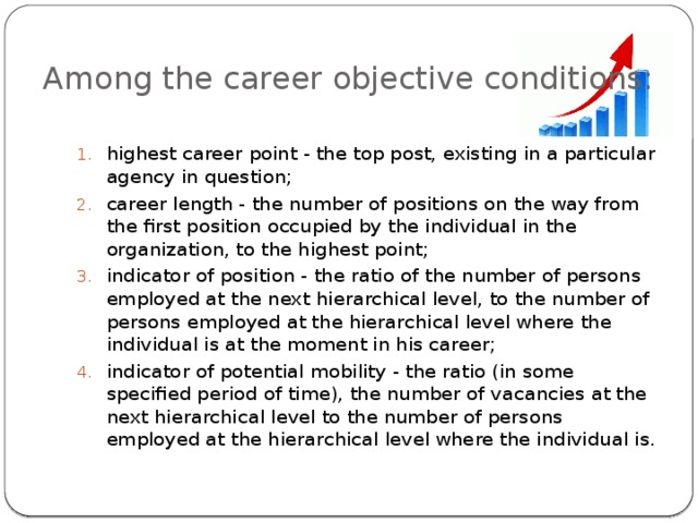 Among the career objective conditions: