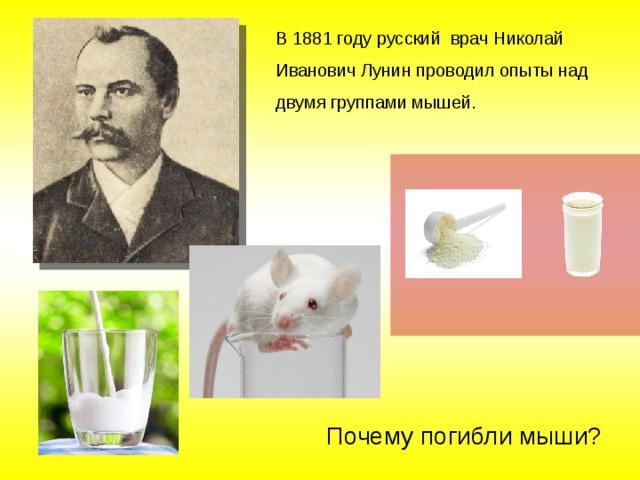 В 1881 году русский врач Николай Иванович Лунин проводил опыты над двумя группами мышей. Почему погибли мыши?