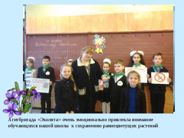 Агитбригада « Эколята » очень эмоционально привлекла внимание обучающихся нашей школы к сохранению раннецветущих растений
