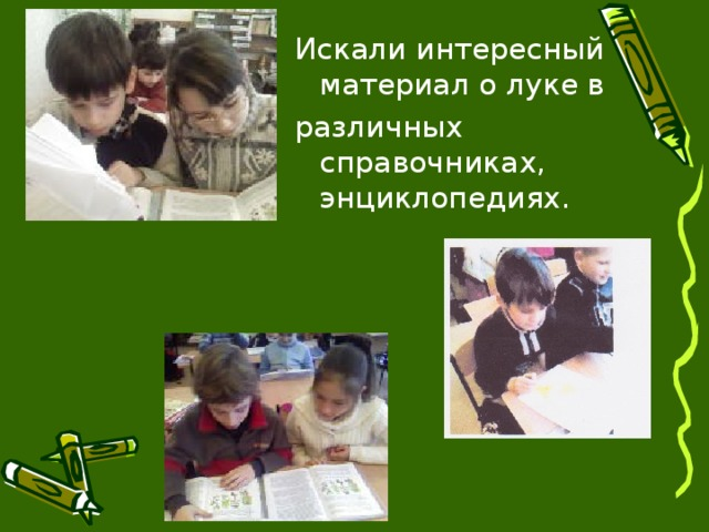 Искали интересный материал о луке в различных справочниках, энциклопедиях.