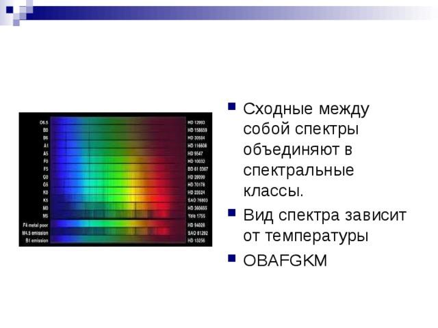 Сходные между собой спектры объединяют в спектральные классы. Вид спектра зависит от температуры OBAFGKM