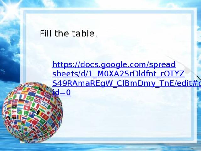 Fill the table. https://docs.google.com/spreadsheets/d/1_M0XA2SrDldfnt_rOTYZS49RAmaREgW_ClBmDmy_TnE/edit#gid=0