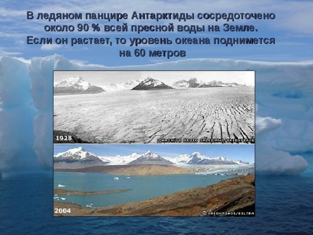 В ледяном панцире Антарктиды сосредоточено около 90 % всей пресной воды на Земле. Если он растает, то уровень океана поднимется на 60 метров