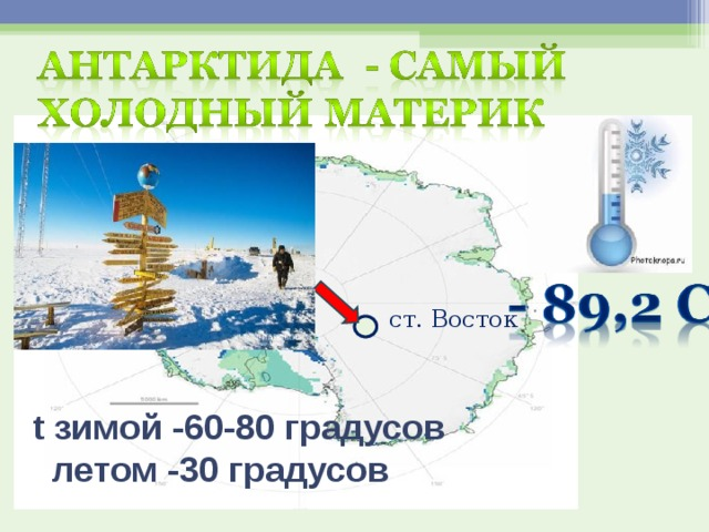 ст. Восток t зимой -60-80 градусов  летом -30 градусов