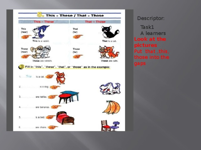 Task1  A learners Look at the pictures Put that ,this, those into the gaps  Descriptor: