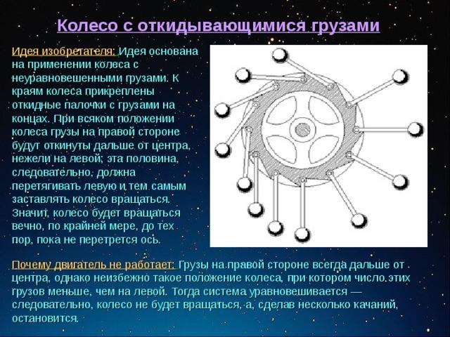 Колесо с откидывающимися грузами  Идея изобретателя:  Идея основана на применении колеса с неуравновешенными грузами. К краям колеса прикреплены откидные палочки с грузами на концах. При всяком положении колеса грузы на правой стороне будут откинуты дальше от центра, нежели на левой; эта половина, следовательно, должна перетягивать левую и тем самым заставлять колесо вращаться. Значит, колесо будет вращаться вечно, по крайней мере, до тех пор, пока не перетрется ось.  Почему двигатель не работает:  Грузы на правой стороне всегда дальше от центра, однако неизбежно такое положение колеса, при котором число этих грузов меньше, чем на левой. Тогда система уравновешивается— следовательно, колесо не будет вращаться, а, сделав несколько качаний, остановится.