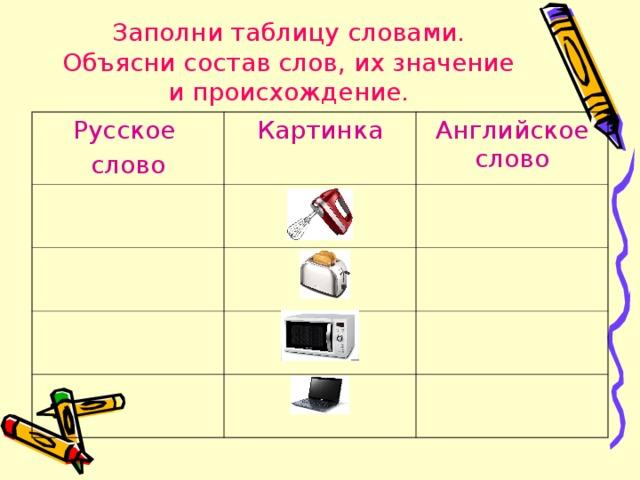 Заполни таблицу словами. Объясни состав слов, их значение и происхождение. Русское слово Картинка Английское слово