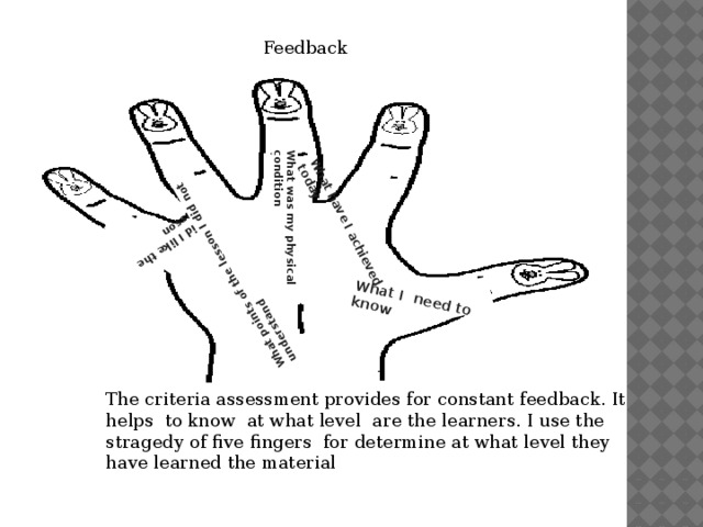 What I need to know  What have I achieved today  What was my physical condition  Did I like the lesson  What points of the lesson I did not understand  Feedback The criteria assessment provides for constant feedback. It helps to know at what level are the learners. I use the stragedy of five fingers for determine at what level they have learned the material
