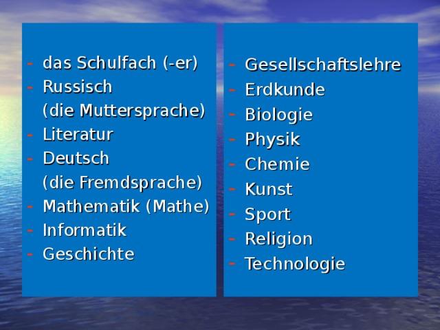 das Schulfach (-er) Russisch Gesellschaftslehre Erdkunde Biologie Physik Chemie Kunst Sport Religion Technologie   (die Muttersprache) Literatur Deutsch  (die Fremdsprache) Mathematik (Mathe) Informatik Geschichte