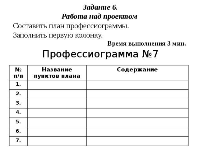Задание 6. Работа над проектом Составить план профессиограммы. Заполнить первую колонку. Время выполнения 3 мин. Профессиограмма №7 № п/п 1. Название пунктов плана Содержание 2. 3. 4. 5. 6. 7.