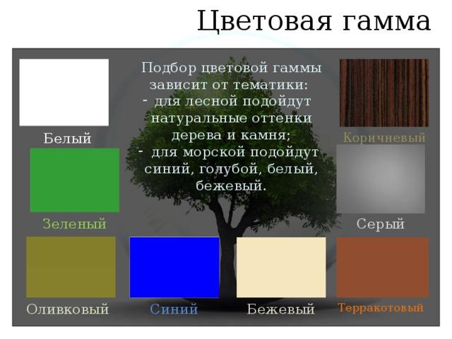 Цветовая гамма Подбор цветовой гаммы зависит от тематики: для лесной подойдут натуральные оттенки дерева и камня;  для морской подойдут синий, голубой, белый, бежевый. Белый Коричневый Зеленый Серый Оливковый Синий Бежевый Терракотовый