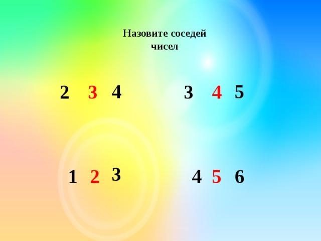 Назовите соседей чисел 4 5  2 3 4 3 3  2 1 5 4 6
