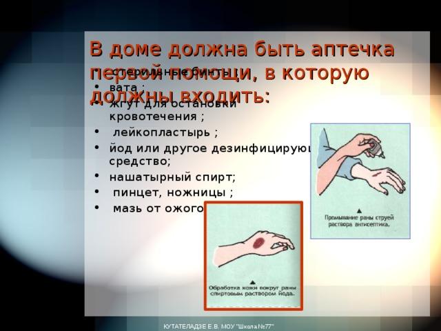 В доме должна быть аптечка первой помощи, вкоторую должны входить:    стерильные бинты ; вата ; жгут для остановки кровотечения ;  лейкопластырь ; йод или другое дезинфицирующее средство; нашатырный спирт;  пинцет, ножницы ;  мазь отожогов .  КУТАТЕЛАДЗЕ Е.В. МОУ