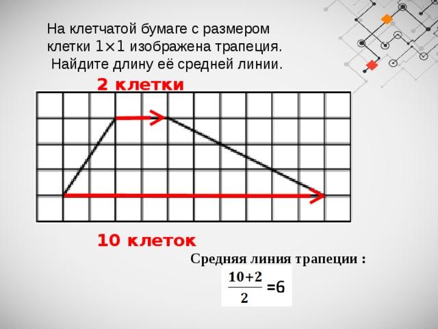 На клетчатой бумаге с размером клетки 1×1 изображена трапеция.  Найдите длину её средней линии.  2 клетки  10 клеток Средняя линия трапеции :