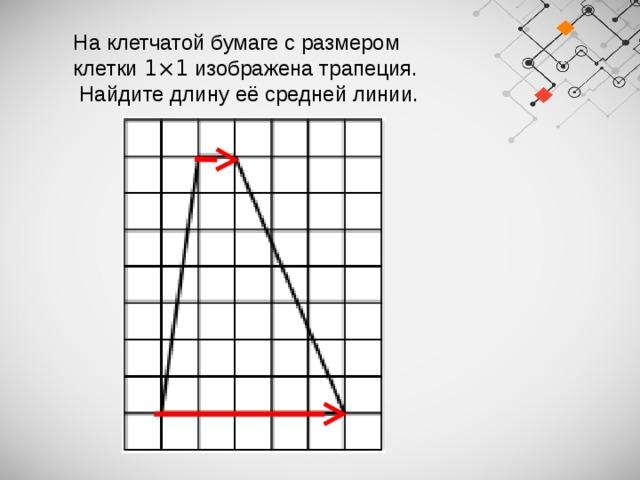 На клетчатой бумаге с размером клетки 1×1 изображена трапеция.  Найдите длину её средней линии.