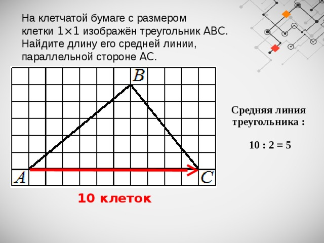На клетчатой бумаге с размером клетки 1×1 изображён треугольник ABC . Найдите длину его средней линии, параллельной стороне AC . Средняя линия треугольника :   10 : 2 = 5  10 клеток