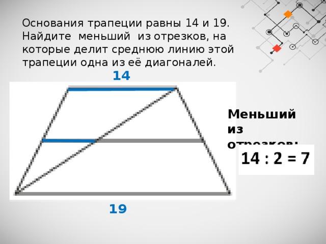 Основания трапеции равны 14 и 19. Найдите меньший из отрезков, на которые делит среднюю линию этой трапеции одна из её диагоналей.  14 Меньший из отрезков:   19