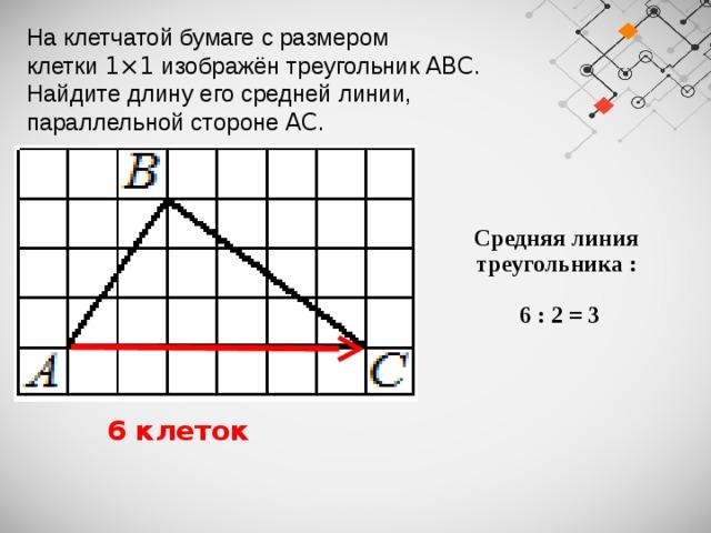 На клетчатой бумаге с размером клетки 1×1 изображён треугольник ABC . Найдите длину его средней линии, параллельной стороне AC . Средняя линия треугольника :   6 : 2 = 3  6 клеток