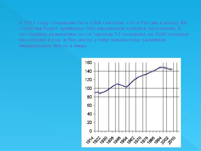 В 1913 году специалисты в США считали, что в России к концу XX столетия будет примерно 560 миллионов человек населения. В тот период рождаемость составляла 52 человека на 1000 человек населения в год, и Россия по этому показателю занимала лидирующее место в мире.