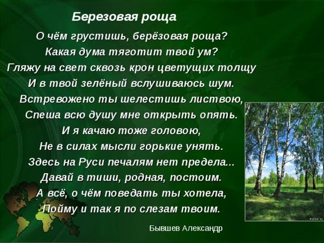Березовая роща   О чём грустишь, берёзовая роща? Какая дума тяготит твой ум? Гляжу на свет сквозь крон цветущих толщу И в твой зелёный вслушиваюсь шум. Встревожено ты шелестишь листвою, Спеша всю душу мне открыть опять. И я качаю тоже головою, Не в силах мысли горькие унять. Здесь на Руси печалям нет предела... Давай в тиши, родная, постоим. А всё, о чём поведать ты хотела, Пойму и так я по слезам твоим. Бывшев Александр